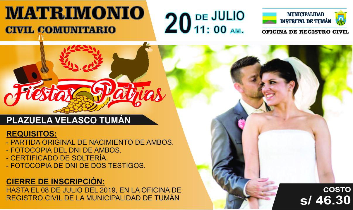 MARTIMONIO CIVIL COMUNITARIO-FIESTAS PATRIAS
